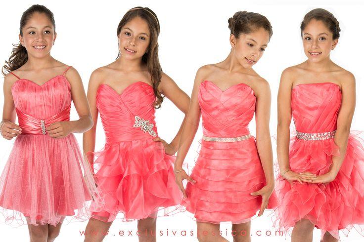 Vestidos De Fiesta Para Niña Color Rosa Coral Imagui