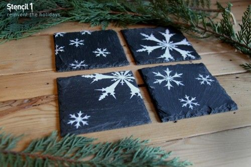 Painted slate coasters made using Stencil1 stencils. Chick through for purchase links.