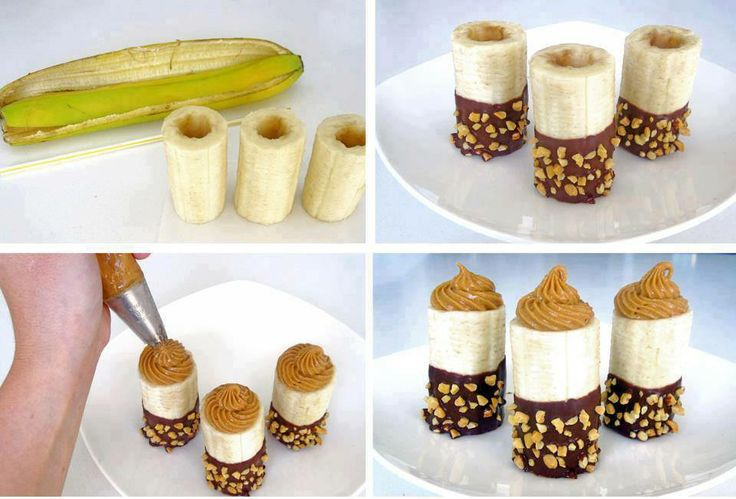 Peanut Butter Filled Banana Bites Courtesy of Confessions of Crafty Witches Directions  Use an apple corer to hollow the middle of the banana out. Put peanut butter in an icing bag or use a plastic bag and cut the corner of the bag and put the peanut butter inside the banana. Melt some chocolate and dip bananas in chocolate then in crushed nuts or coconut  let sit on wax paper in freezer or fridge until chocolate sets and enjoy