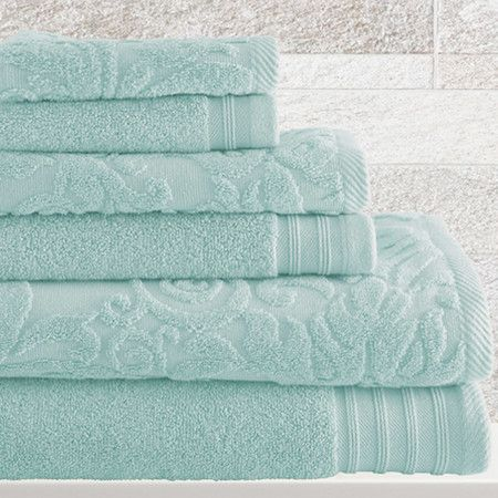 """6-Piece Simone Towel Set in Blue Perfect aqua color! """"well rested"""" sale"""