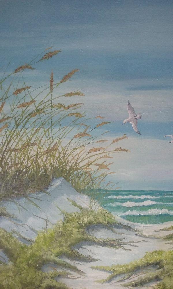 Original Oil Painting Signed Seascape Sand Dunes Sea Oats