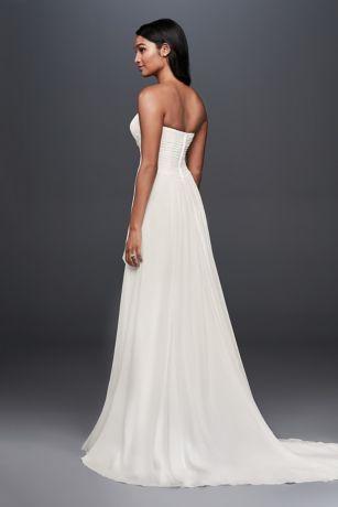 b10d26a5 Pleated Chiffon Sheath Wedding Dress with Beading Style WG3871, Soft ...