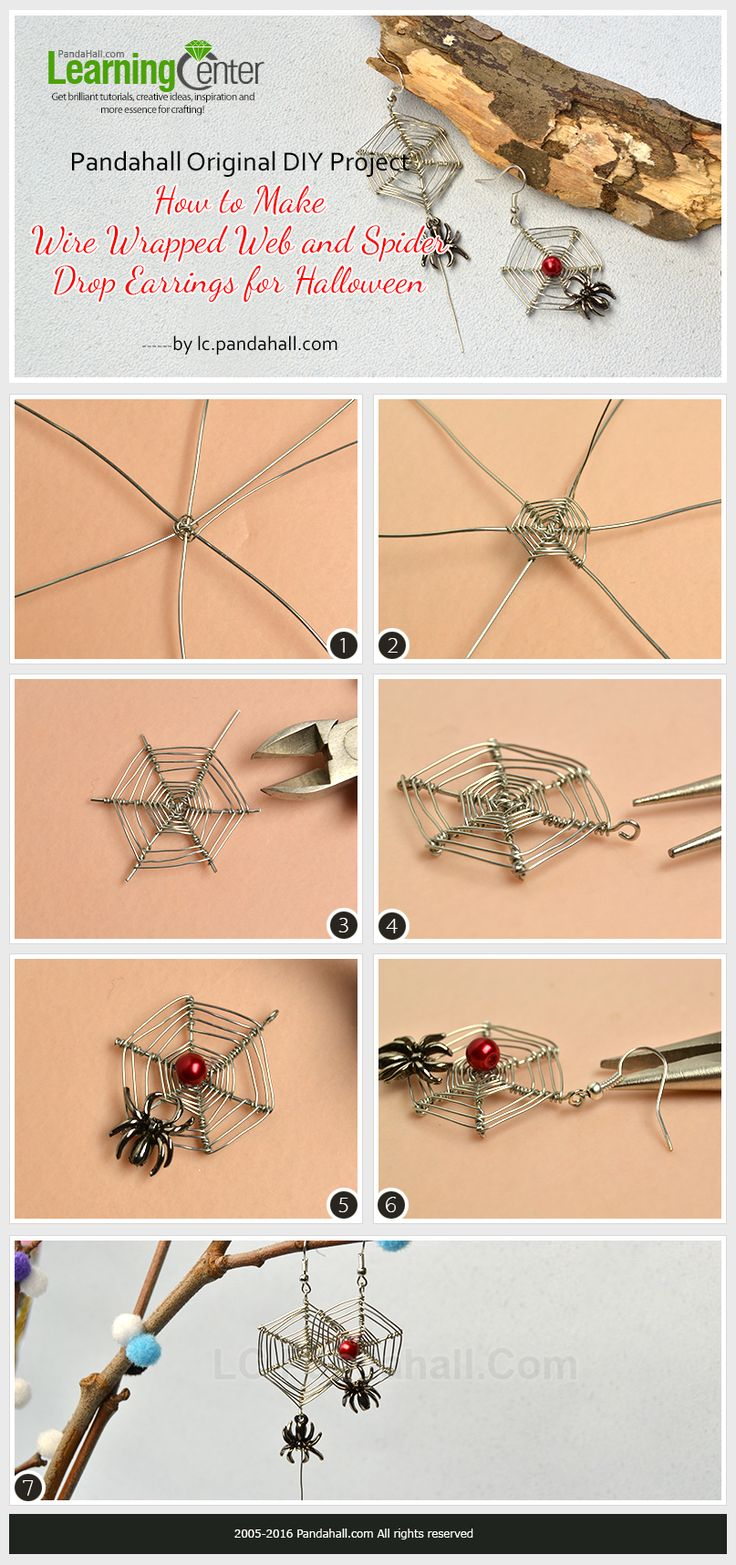 Pandahall Original DIY Project- How to Make Wire Wrapped Web and Spider Drop Earrings for Halloween from LC.Pandahall.com