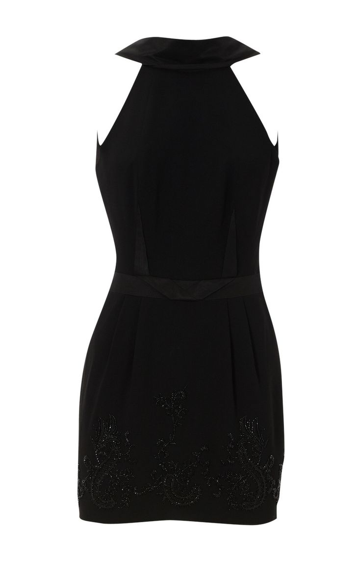 Karen Millen Beaded Tailored Dress Black ,fashion  Karen Millen Solid Color Dresses outlet