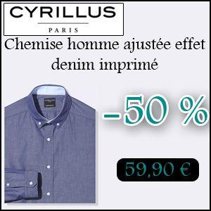 #missbonreduction; Remise de 50 % sur la Chemise homme ajustée effet denim imprimé chez Cyrillus. http://www.miss-bon-reduction.fr//details-bon-reduction-Cyrillus-i228-c1830019.html