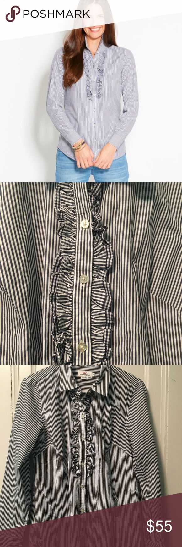 Vineyard Vines Striped Ruffle Oxford Shirt In great condition, like new. Navy stripes. Blue whale detailing. 100% cotton. Sizing chart from Vineyard Vines website under womens is in photos. Vineyard Vines Tops Button Down Shirts