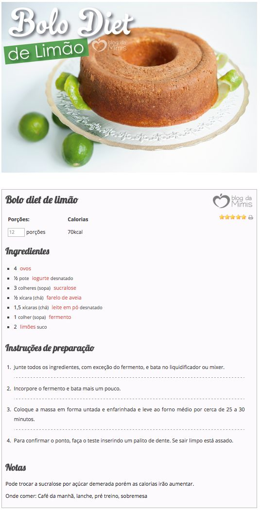 Bolo diet de limão do Blog da Mimis