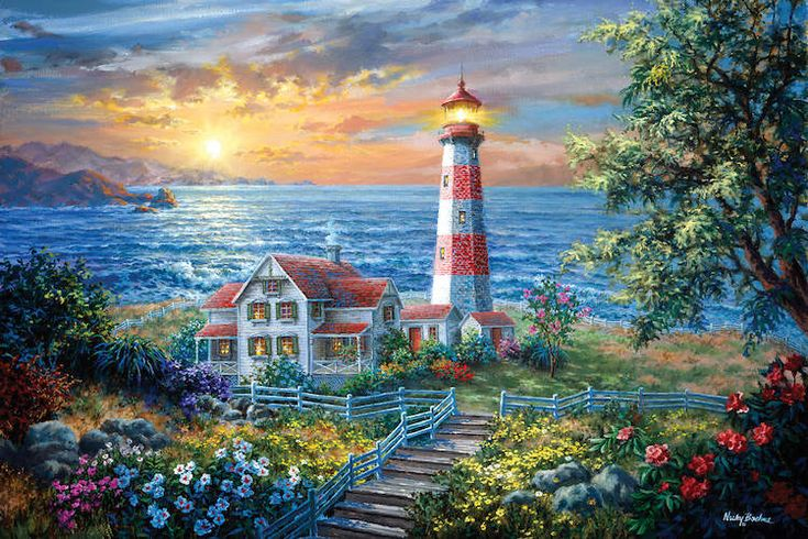"""Round: 14/"""" x 14/"""" CraZArt ROUND /""""Lighthouse Morning in Spring by Nicky Boehme/"""""""