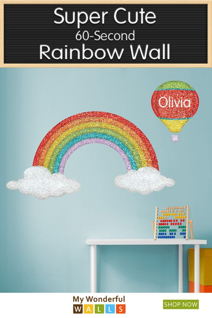 Super Cute Super Easy No Need To Get All Messy With Paint When You Can Stick This Large Rainbow Wa Rainbow Wall Stickers Rainbow Wall Decal Wall Stencil Kids