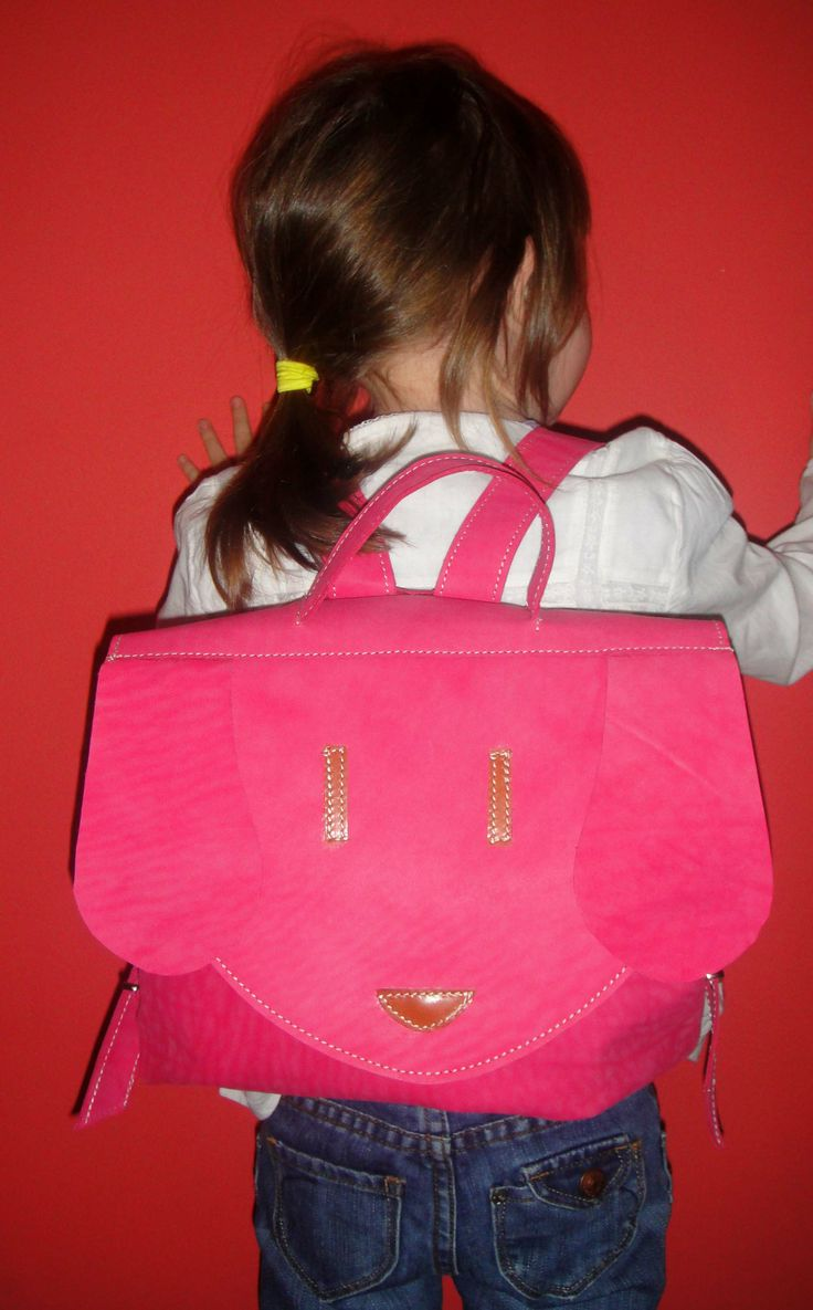 fuchsia kids leather backpack