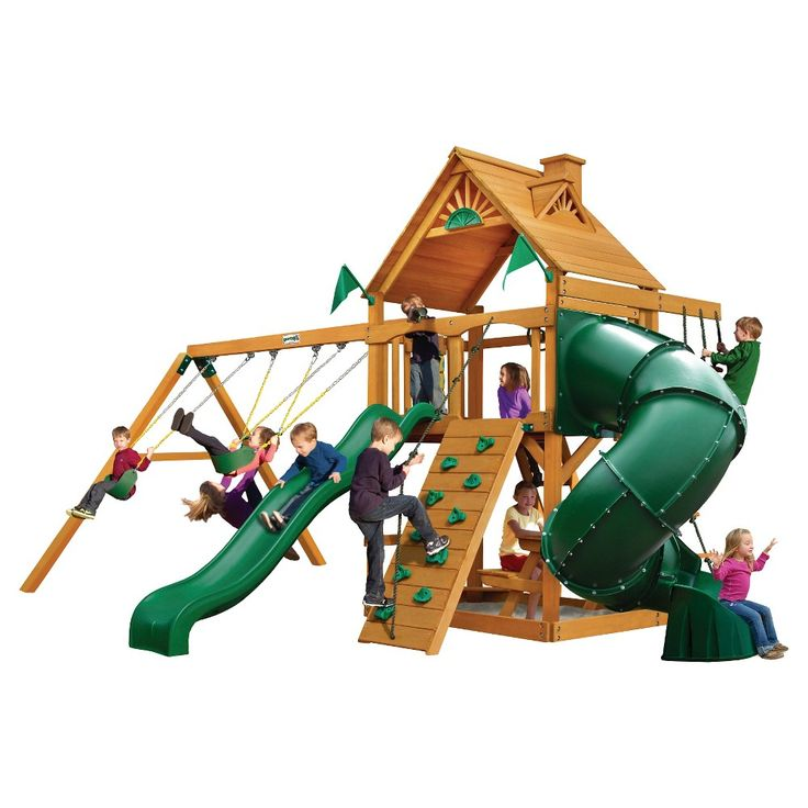 Gorilla Playsets Mountaineer Cedar Swing Set w/ Amber Posts,