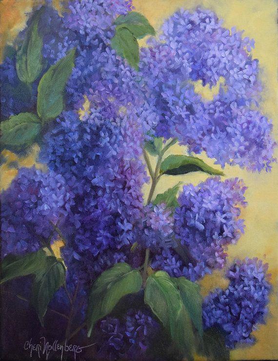 Pittura floreale, natura morta, primavera viola lillà, 14x18 originale olio su tela di Cheri Wollenberg