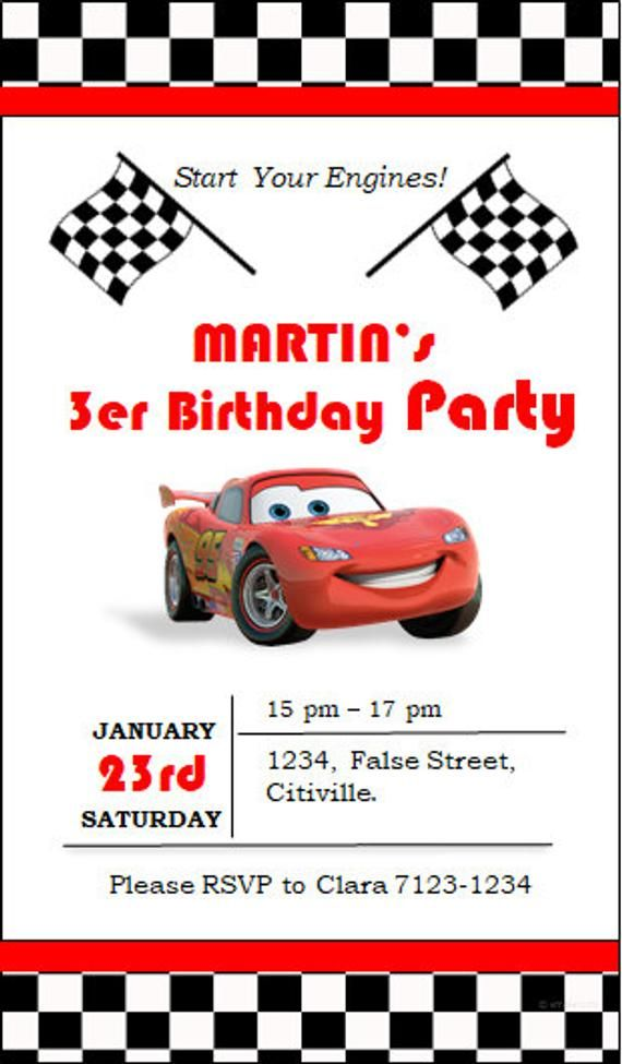 Cars Invitation - Editable | Fox turns 2 | Pinterest | Birthday ...