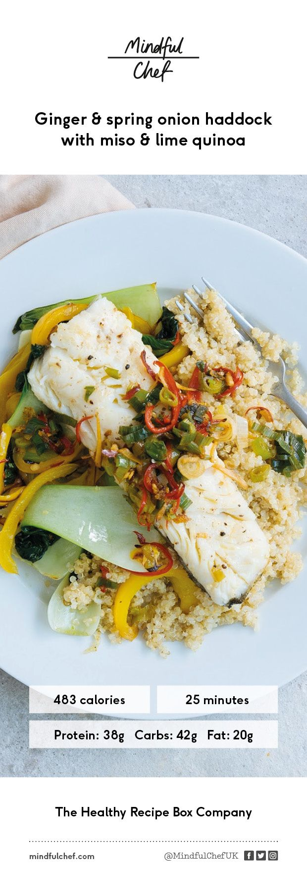 Healthy ginger & spring onion haddock with miso & lime quinoa | Fish Recipe | gluten-free, dairy free, no refined carbs | Easy prep | We deliver all the pre-portioned ingredients needed to make our dinners in under 30 minutes