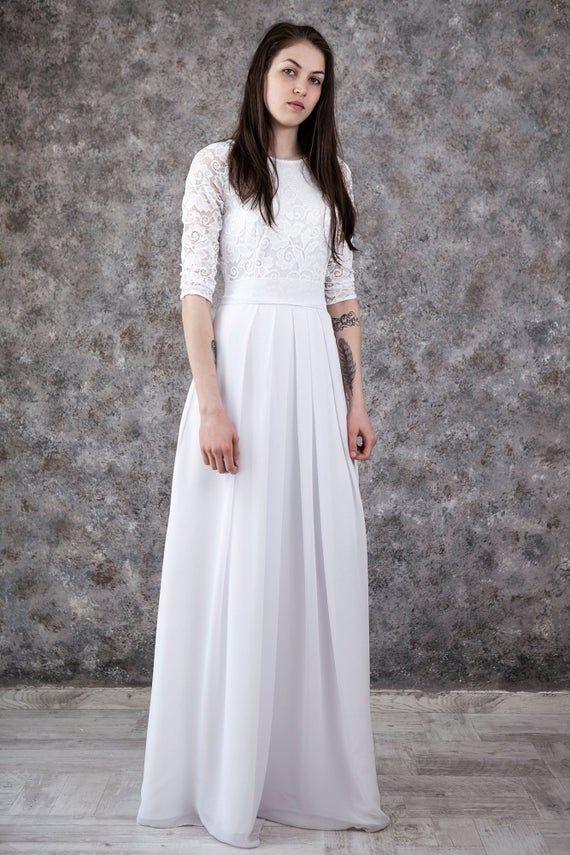 Inexpensive Wedding Dress White Lace Wedding Dress Floor Etsy In 2020 Cheap Wedding Dress Modest Wedding Gowns Inexpensive Wedding Dresses