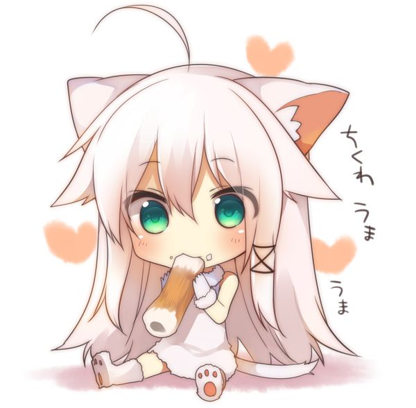 Anime Characters Look White : Tags anime eating cat tail mishima kurone white