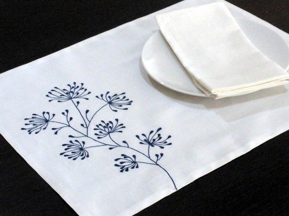 White Linen Placemat White Linen Blue Floral by KainKain on Etsy