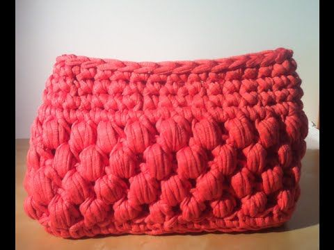 Tutorial Bolso de trapillo base rectangular punto Dino(Puff)