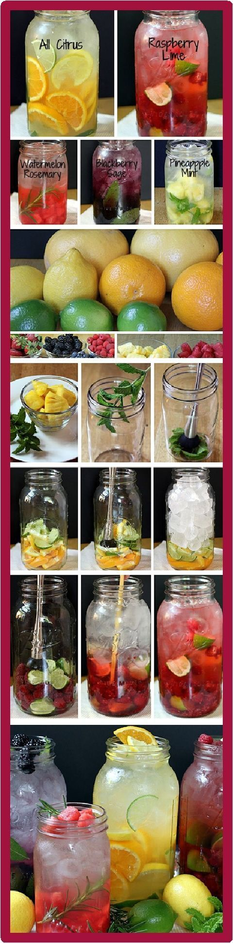 Refreshing & Flavorful Drink: Make your own vitamin water. Add fruits instead of sugar for a natural sweetener for your water. Cut the fruit into paper-thin slices or small chunks. Add fresh spices or citrus as pictured or add your own favorites. Combine ingredients with water. Refrigerate 4-6 hours. Serve over ice. Yummy. ♥
