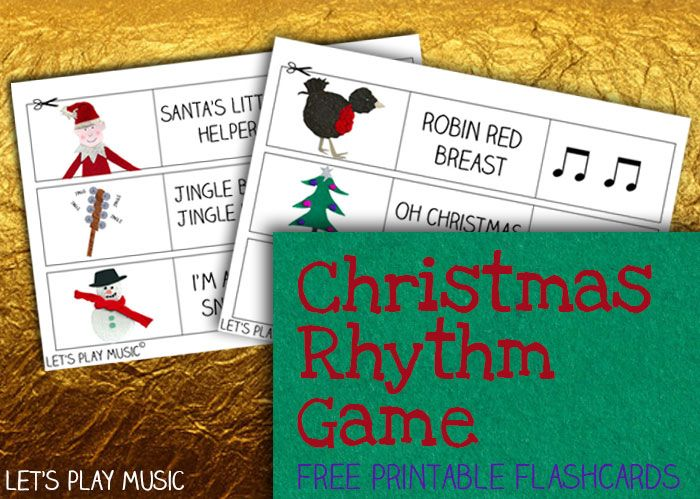 Christmas Rhythm Game - Free flashcard printables - Let's Play Music.   Fun Rhythm and Memory game that can be easily adapted for kids of all different ages!