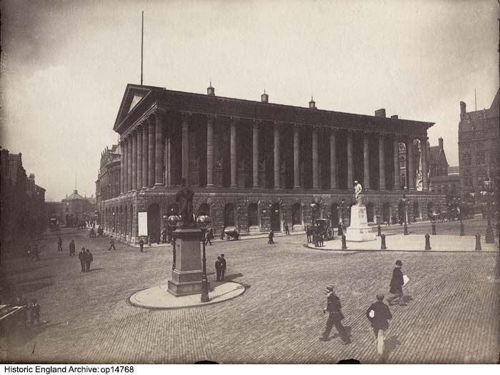 OP14768 Birmingham Town Hall viewed from the east with the Peel Statue in the foreground. 1890 - 1910.  Please click for more information, or to search our collections.