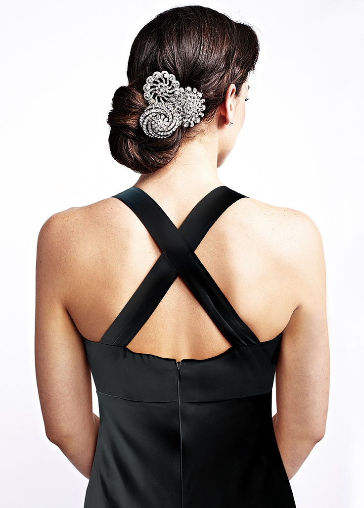 A cluster of brooches can make for fabulous holiday hair