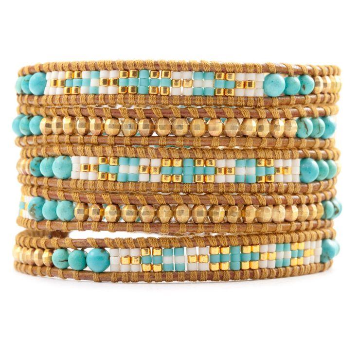 Chan Luu - Turquoise Mix Bead Wrap Bracelet on Henna Leather, $245.00 (http://www.chanluu.com/wrap-bracelets/turquoise-mix-bead-wrap-bracelet-on-henna-leather/)