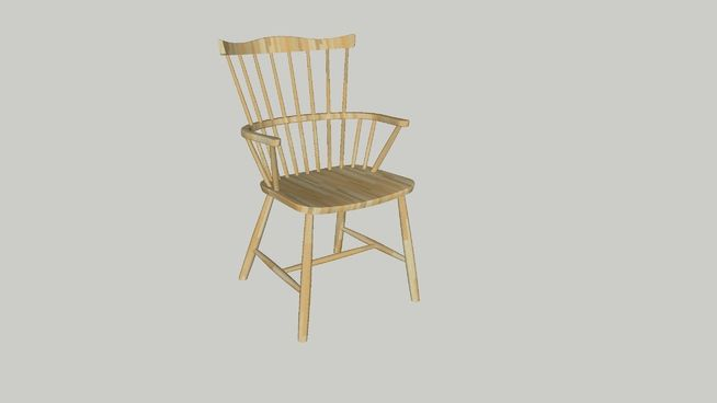 Large preview of 3D Model of Beech Lacquer J52B FDB CHAIR