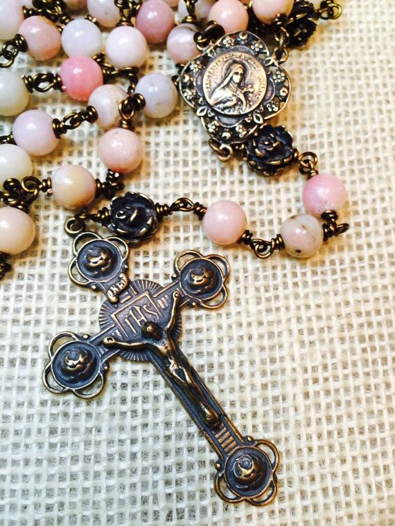 St. Therese Lisieux Rose Rosary, Wire wrapped, Bronze, Heirloom, Faceted Peruvian Pink Opal 8mm, Catholic Jewelry, Christian Jewelry, Heirlo