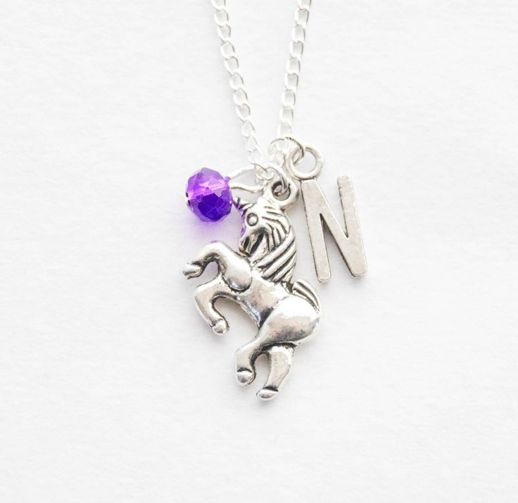 Personalize Unicorn Charm Necklace Silver Unicorn Necklace Unicorn Initial Necklace Magic Horse Necklace Birthstone Initial necklace jewelry by SmittenKittenKendall on Etsy