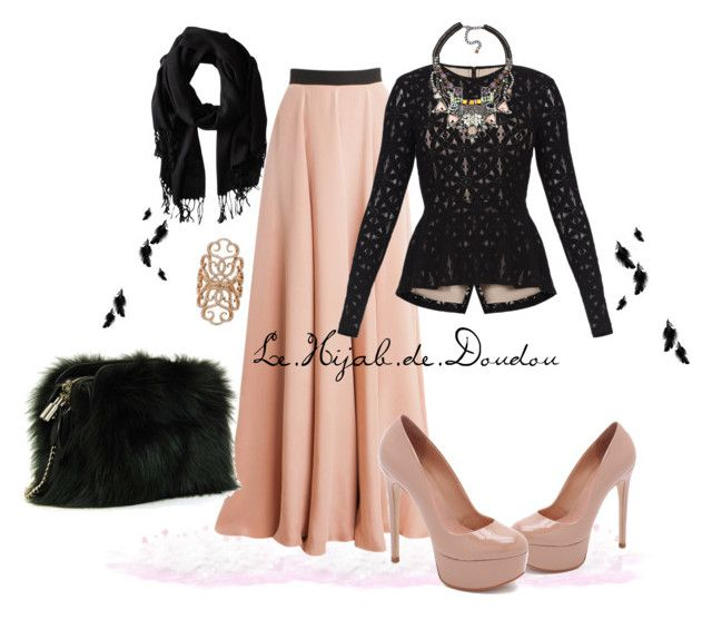 """Pink and Black Hijab Outfit"" by le-hijab-de-doudou ❤ liked on Polyvore featuring Schutz, Roksanda, Louis Vuitton, BCBGMAXAZRIA, Gabriella Rocha, Nocturne and Inbar"
