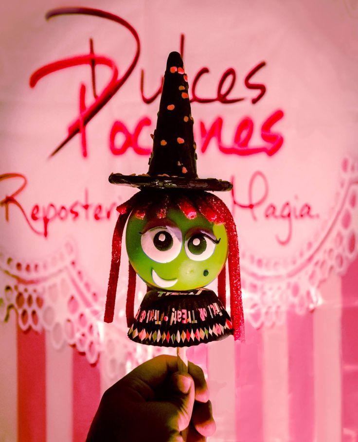 Witch candy apple Manzana decorada de bruja