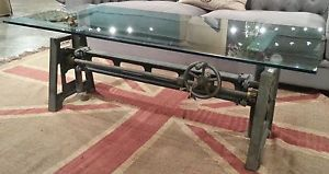 """53"""" industrial loft hand crank coffee table glass top cocktail"""