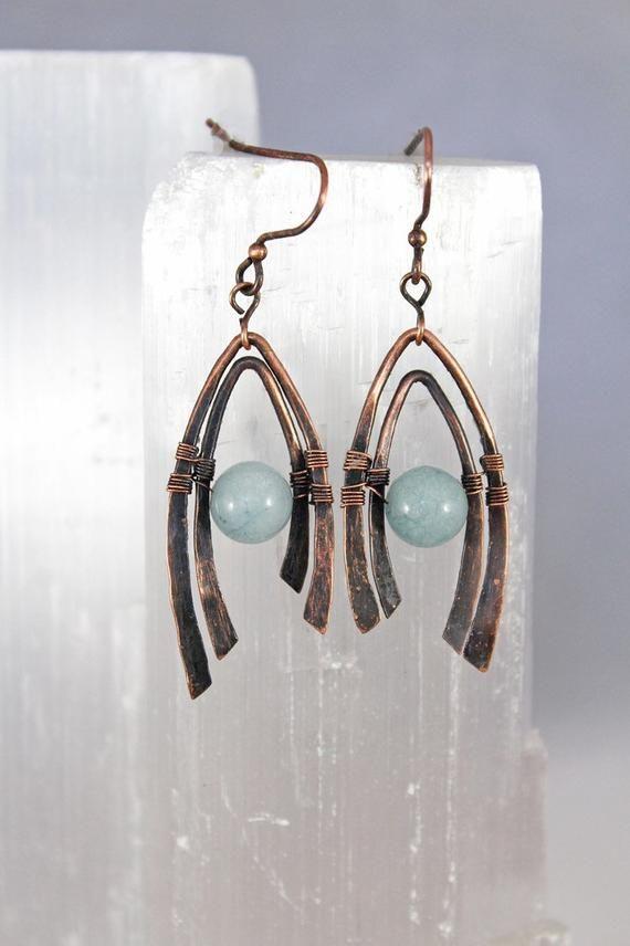 1b71b0d2698 Hammered Copper And Aquamarine Wire Wrapped Wishbone Earrings ...
