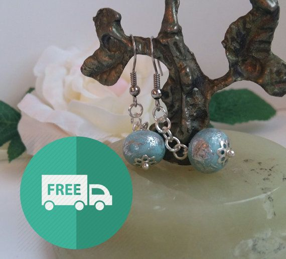 Earrings with beads Blue frost. Cluster earrings. by ninapolansky