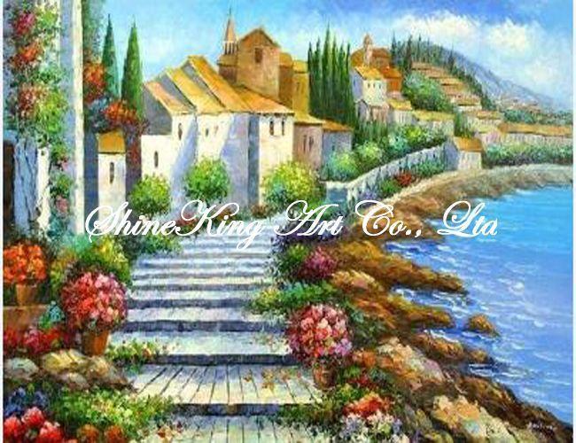 Handmade картина маслом на холсте impressional морской пейзаж средиземное море художественная роспись MED1042 50 x 60 см