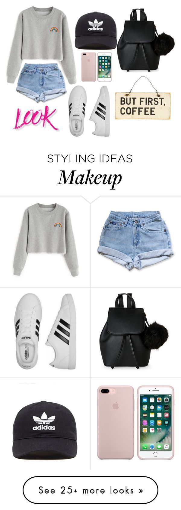 """subtitle, everyday look with an adidas hat for a lazy hair day!"" by soph1designer on Polyvore featuring Levi's, adidas, adidas Originals, NYX and"