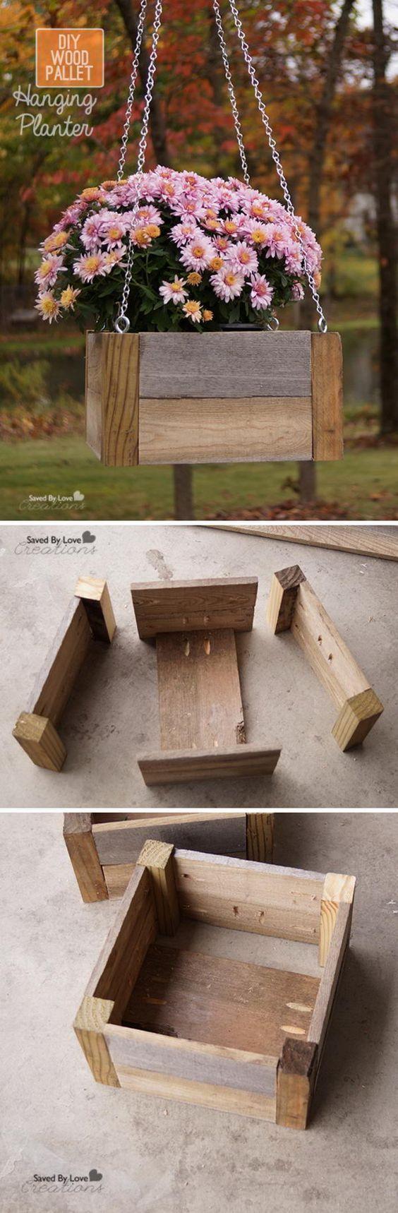 DIY Wood Pallet Hanging Planter.