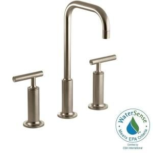 kohler purist 8 in widespread 2 handle mid arc bathroom faucet in vibrant brushed bronze with high gooseneck spout - Kohler Armaturen L Eingerieben Bronze