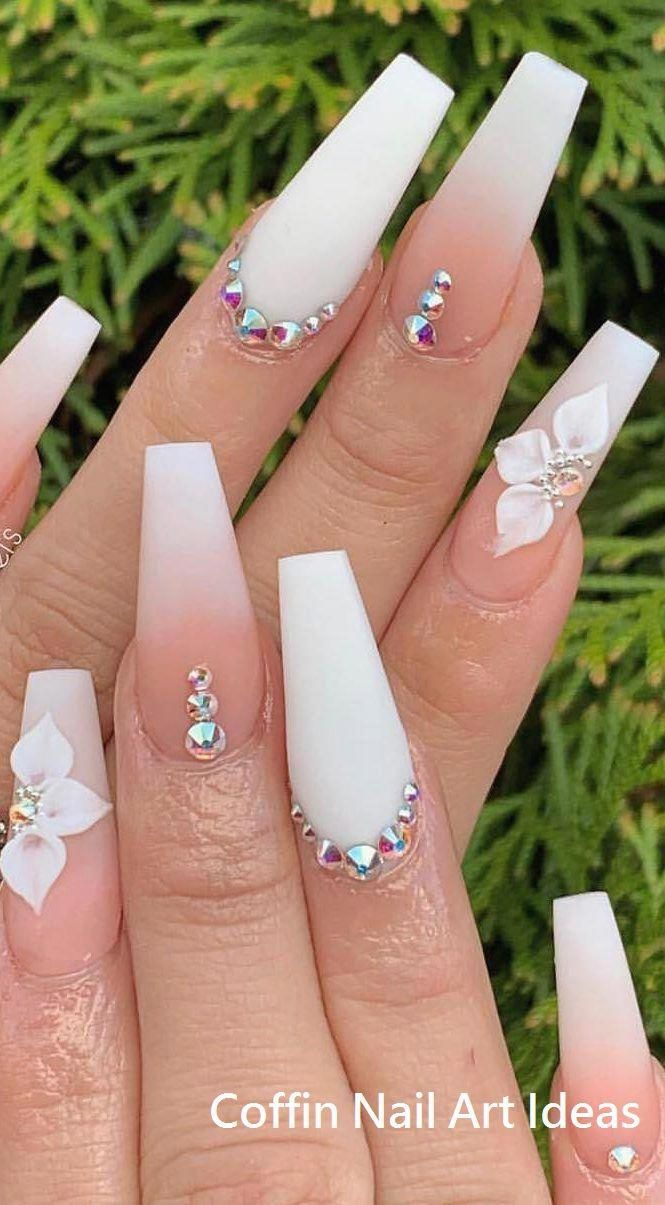 20 Trendy Coffin Nail Art Designs #nail #coffinnai…