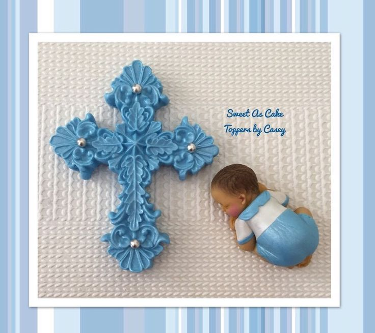 Blue & White Baby Boy + Cross Christening Cake Topper. Decoration. Baptism  | eBay