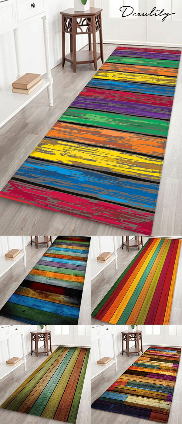 Colorful Wooden Board Print Flannel Skidproof Area Mat Dresslily