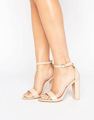 776addbab5950c Glamorous Nude Patent Barely There Block Heeled Sandals