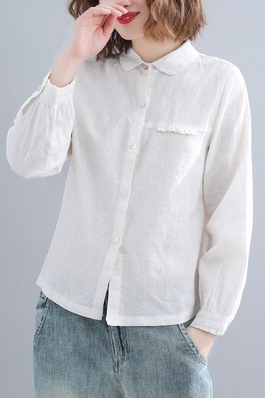 ad70f6aa1ff Cute White And Coffee Cotton Linen Loose Shirt For Women S31126 ...