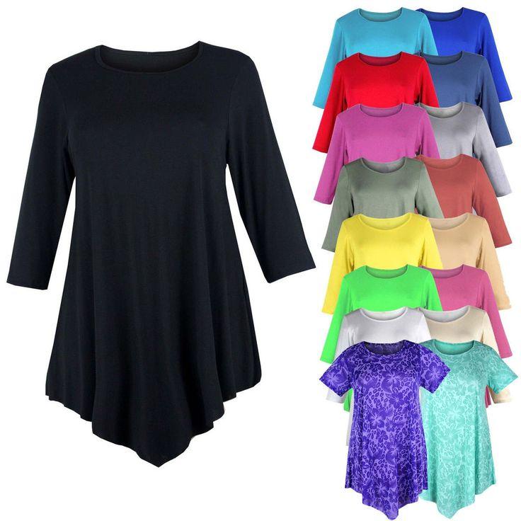 Tunika Damen Übergroße Mit 3/4 Ärmel Und Rundhalsausschnitt