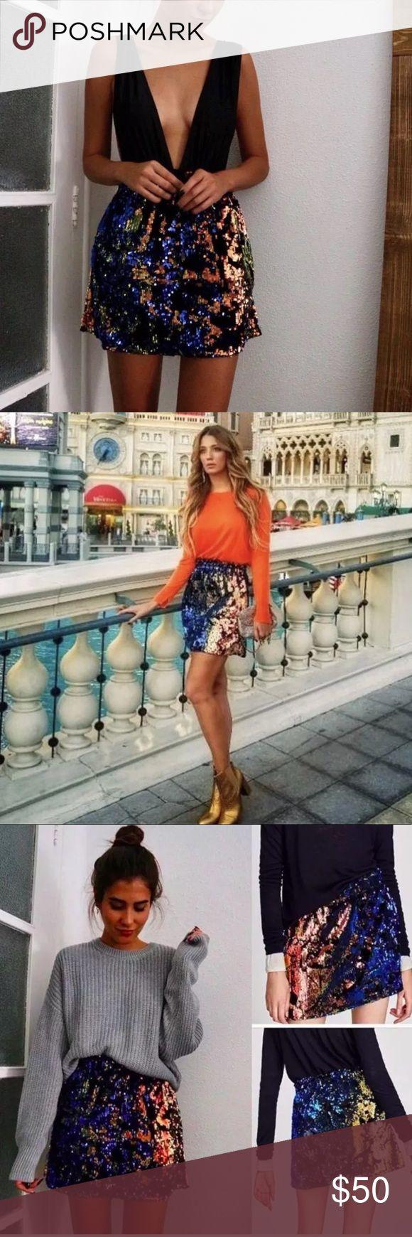 ZARA MULTICOLORED SEQUIN MINI SKIRT Brand new with tags. Zara size small. A multicolored sequin mini skirt. Zara Skirts Mini
