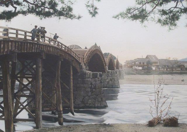 約100年前の錦帯橋 山口県岩国市 Kintaikyo - Bridge of about 100 years ago  Iwakuni-si, Yamaguchi-ken , Japan