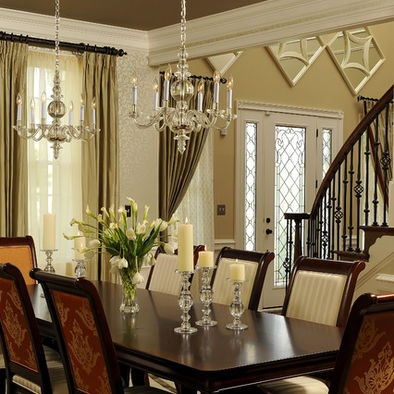 Dining Room, Elegant Dining Room Design With Classic Decoration Apply  Luxury Chandelier Classy Dining Table Made From Solid Wood Meterials Plus  Dining ...
