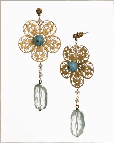 handmade earrings; aquamarine and water fresh pearls.