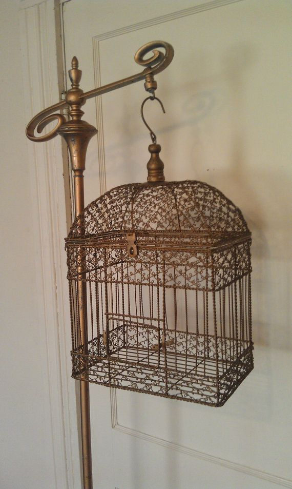 Vintage Bird Cage Decorative Birdcage with by grasshoppercafe, $200.00